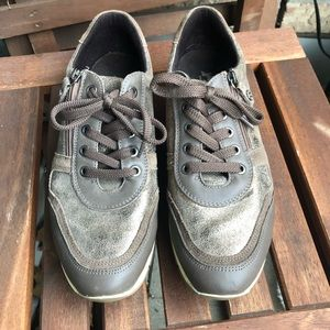 Bronze Leather Sneakers / Running / Walking Shoes